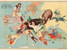 A splendid map showing the confidence felt by many at the start of the Great War that the combined might of Russia, France and the British empire would swiftly defeat Germany and her buffoonish ally, the Austro-Hungarian empire. Image: The Map House