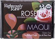 Righteously Raw Rose Maqui Truffle Bar- 2.3oz. Blended in this decadent truffle are sensational layers of tastes beginning with sumptuous dark maqui and  raspberry and ending on notes of rich chocolate and fragrant rose. Beginning with a base of antioxidant-rich cacao butter and red raspberry powder, and paired with blood-detoxifying beet crystals and highly digestible brown rice protein powder, http://www.sunfood.com/rose-maqui-truffle-bar-2-3oz.html