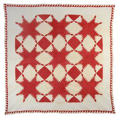 very fine quilting with wreaths in the white blocks and a graceful feather throughout the border. In tiny, tiny embroidered stitches is written 'Rebecca Spangler August 96 x a past listing by Stella Rubin on Star Quilt Patterns, Star Quilts, Quilt Blocks, Mini Quilts, Antique Quilts, Vintage Quilts, Two Color Quilts, Red And White Quilts, Doll Quilt