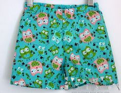 Girls shorts. Girls beach shorts. Girls summer shorts. Elasticated waist. Owls. Sizes 2T,3T, 4T,5. - pinned by pin4etsy.com