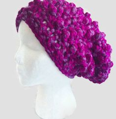 Chunky Crochet Slouchy Hat Pink Crochet Hat by LadeesBoutique