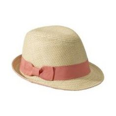 Fedora hat with coral ribbon