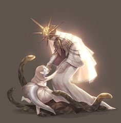 Fan art for Dark Souls III - Gwyndolin spends time with a young Yorshka (his sister). Dark Souls 3, Arte Dark Souls, Soul Saga, Character Art, Character Design, Fanart, Video Game Art, Gray Background, Fantasy Creatures