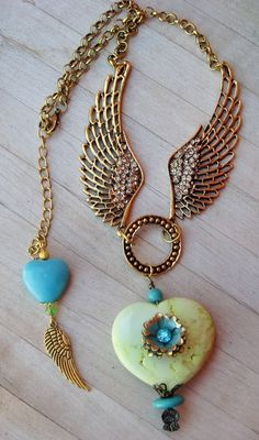 COWGIRLS UNTAMED NECKLACE - Angelic - Vintage Style Necklace Goldtone Angel Wings Amber   Crystals Rhinestones Antique Repurposed Jewelry on Turquoise Heart Pendant  http://www.cowgirlsuntamed.com/catalog.php?category=9