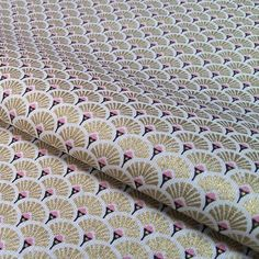 Fabric pink and gold metalic fan  Japanese fabric  fabric