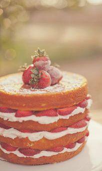 Wedding Naked Cake with Strawberries