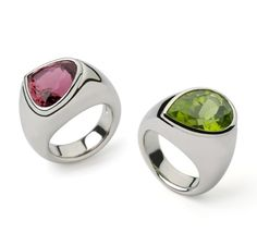 Kashmir peridot and pink tourmaline 18ct white gold cocktail #rings by Nicholas James