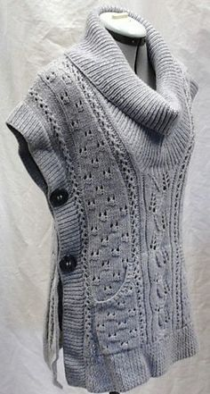 "diy_crafts-Free Knitting Pattern for Tabard Vest ""Knitting Free Pattern: Tabard Vest/Shawl Collar Slipover by Lion Brand Yarn"", ""Free Pattern: Knitting Patterns Free, Knit Patterns, Free Knitting, Free Pattern, Pattern Ideas, Knitting Sweaters, Knitting Machine, Sewing Patterns, Pull Crochet"