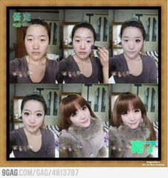 Asian girl... before/after  Fuck. Ninja make up bahahaa