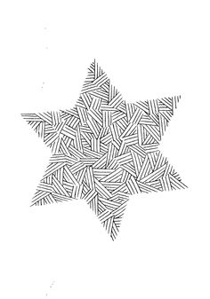 Vul een ster (of andere vorm) met een eenvoudig patroon. Mooie oefening met inktpennetje. AK. christmascard ulrike wathling
