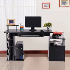 This Computer Desk is perfect for any home or office. It's a great solution to have your computer on with the ability to use a workable space. With its separate area to hold your desktop, a neat shelf for your monitor or printer and a pull out shelf for your keyboard and mouse. Also has some storage area for your file or other nik- naks. Its elegant design and looks would be a great solution in any environment.