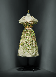 """Christian Dior (French, 1905–1957). """"Vilmiron"""" dress, spring/summer 1952 haute couture French. Silk, nylon. The Metropolitan Museum of Art, New York, Gift of Mrs. Byron C. Foy, 1955 (C.I.55.76.20a–g). Photo © Nicholas Alan Cope. #ManusxMachina #CostumeInstitute"""