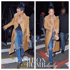 Fabulous Looks of the Day! @badgalriri #Rihanna hit up the @the4040club in a leather shearling coat, @mcmworldwide bag, and lace booties. Hot! Or Hmm...? #instafashion #instastyle #fashion #Fashionbombdaily #style