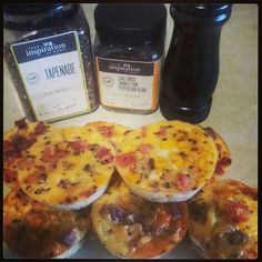YIAH Tapenade Sausage, Bacon, Corn & Egg Muffins 250gm bacon, diced 3 cold sausages, diced 1 Can corn Kernals 2 tbspn YIAH Tapenade Dip Mix Combine & Fill 24 Silicon Muffin Trays with mixture. Whisk 7 eggs, 1/2 cup milk, add some YIAH Shiraz 4 blend pepper for seasoning - pour in moulds with mixture. Cook on 180 degrees for 25 minutes. Great hot or Cold Great for Breakfast & lunch box snacks