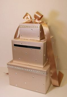Please read my shop announcement !!!! bwithu.etsy.com This listing is included: 3 tier card box (any color) Ribbon a and bow ( any color ) Rhinestones silver trim. Rhinest... #etsymnt #decoration