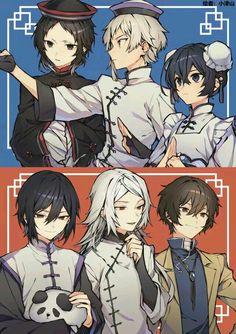 the trios in the Dead Apple movie Manga Anime, Anime Chibi, Anime Guys, Anime Art, Stray Dogs Anime, Bongou Stray Dogs, Kawaii, Anime Couples, Anime Characters
