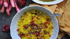 This delicious slow cooked lamb dish with fried herbs and rhubarb is one of the nicest you will ever taste Rhubarb Dishes, Slow Cooked Lamb, Lamb Dishes, Asian Recipes, Ethnic Recipes, Gluten Free Rice, Persian, Macaroni And Cheese, Good Food
