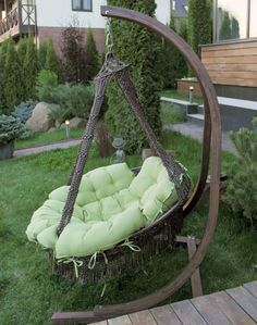 Hammock Swing Chair, Hanging Hammock, Swinging Chair, Swing Chairs, Wooden Swing Chair, Hanging Chairs, Beige Pillows, Brown Pillows, Floating Chair
