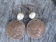 Custom design 1940s Philippines 1 centavo handmade coin earrings. Women's large size coin pearl casual style copper earrings. by CoinJewelryCompany on Etsy