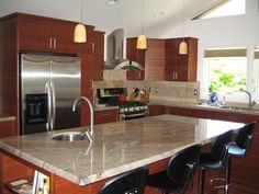 Gold granite kitchen countertop