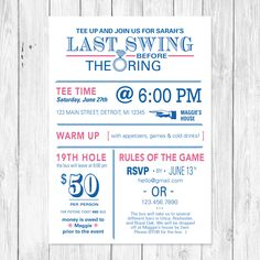 The last swing before the ring - Golf themed bachelorette party invitation. Customizable
