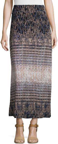 Neiman Marcus Printed A-Line Maxi Skirt, Black/Beige/Blue  Price : 55.00$ Sale Off Price: 33.00$