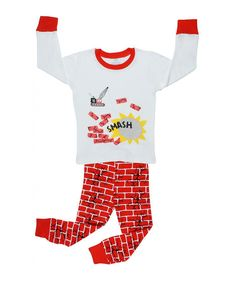 Look at this White & Red Brick Pajama Set - Infant, Toddler & Boys on #zulily today!
