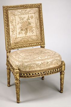 Side chair, Maker: Georges Jacob (French, master Maker: embroidered upholstery in the style of Philippe de Lasalle (French, Date: ca. Door Furniture, French Furniture, Classic Furniture, Furniture Styles, Fine Furniture, Antique Furniture, Pub Chairs, Side Chairs, Louis Seize