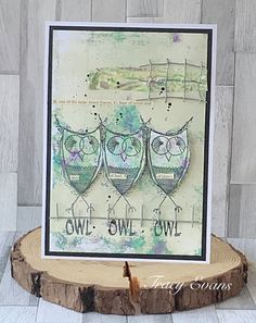 """Mixed media card using Tracy Evans Stamp """"Owl"""" from AALLandCreate Gel Press, 9th October, Mixed Media Cards, Owl Card, Paint Pens, Simon Says Stamp, Tim Holtz, Cardmaking, Vintage World Maps"""
