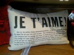 Coussin meunier tu dors, citation, Je t'aime! , plusieurs autres modèles, Le jardin d'Andrée-Anne, www.lejardin.ca