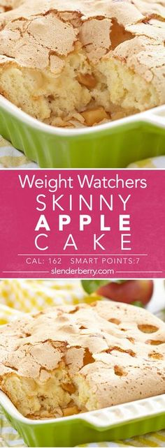 Weight Watchers Skinny Apple Cake Recipe - 7 Smart Points 162 Calories (healthy weight how much should i weigh) Low Calorie Desserts, Low Carb Dessert, Ww Desserts, Low Calorie Recipes, Dessert Recipes, Low Calorie Snacks Sweet, Low Calorie Baking, Low Calorie Cake, Elegant Desserts