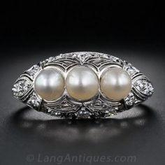 Edwardian Three-Pearl Diamond and Platinum Ring