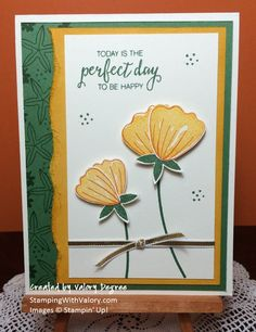 Stampin' Up! Bunch of Blossoms set, Blossom Builder punch, Crushed Curry, Pumpkin Pie and Garden Green ink and cardstock.