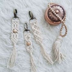 Macrame key chain or purse accessories! This item is made out of 100% unbleached cotton 2mm rope. Perfect for any macrame lover who wants to add an instant bohemian feeling to any purse or key!! Approximate dimension: 1 inch wide. 8.5 inches long Please choose your desing before checking out on the variation section,from left to rigth choose A,B OR C. By ordering you will receive a new item made for you and NOT the item in the picture. Please allow 1 to 2 weeks to prepare for shipping. Be...
