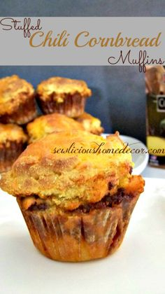 Stuffed Chili Cornbread Muffins...perfect for game appetizer or informal holiday party around the fireplace...