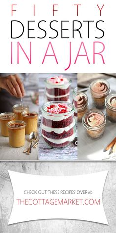 50 Desserts in a Jar. Dessert is always wonderful but it can be even better when it is in a jar : ) Come and check out all these yummy recipes that your family and friends will flip for! Mini Desserts, Mason Jar Desserts, Mason Jar Meals, Meals In A Jar, Just Desserts, Delicious Desserts, Dessert Recipes, Yummy Food, Jar Recipes