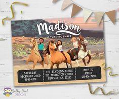 Invitation Flyer, Digital Invitations, Caballo Spirit, 4th Birthday Parties, 3rd Birthday, Birthday Ideas, Mad Tea Parties, Free Birthday Invitations, Party Queen