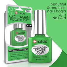 """COLLAGEN POWER COAT   Collagen is a protein that builds the connective tissue of hair and   nails. Our collagen """"protein booster"""" treatment penetrates thin, brittle  nail layers to give them the strength to end cracking and breaking. #nail #nails #nailpolish #nailaid #nailcare #nailcarebrand #nailaidworks #thebestnailcarebrand #nailpolishaddict #nailpolishremover #polishremover #manicure #nailart #nailstagram"""