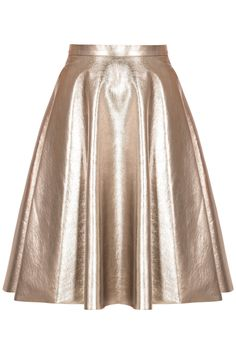 MSGM Metallic Full Skirt -   Banded high waist, full skirt, hidden seam side pockets, mid-weight leather-style textured metallic finish fabric with faux-suede inner backING.