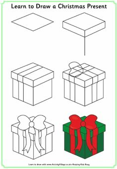 christmas present drawing christmas drawing christmas presents christmas crafts merry christmas - How To Draw A Christmas Tree Step By Step