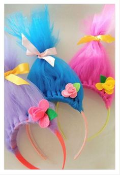 DIY Troll Hair Headbands - DIY Inspired - - For softball opening day, the teams get dressed up in costumes. We are the Trolls so, I had to figure out how to make DIY Troll hair headbands. Trolls Birthday Party, Troll Party, Birthday Parties, Diy Birthday, Birthday Ideas, Birthday Decorations, Rainbow Decorations, Troll Halloween Costume, Scary Halloween
