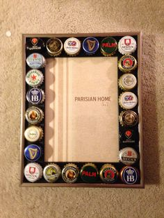 DIY Beer cap picture frame for dad's Christmas gift #diy #christmas #fathergift