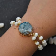 White Glass Beads Bracelet with Drusy Agate