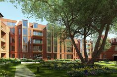 CGI of Rosalind Franklin — Exterior view across The Orchard