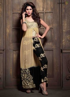 GLORIOUS CREAM GEORGETTE FRONT OPEN SUIT CODE:-7101 PRICE:-4412/-