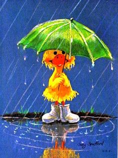 Suzy's Zoo card: Duck in rain with umbrella by Suzy Spafford Umbrella Art, Under My Umbrella, Walking In The Rain, Singing In The Rain, Rain Art, Art Vintage, Art Et Illustration, Suzy, Rainy Days
