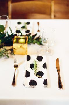 Place setting with herb