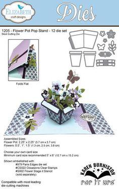 Karen Burniston Pop It Ups Elizabeth Craft Design - Flower Pot Pop Stand 1205 Pop Up Flower Cards, Pop Up Box Cards, Fun Fold Cards, Folded Cards, Scrapbooking 3d, Origami, Pop Up Art, Elizabeth Craft Designs, Interactive Cards