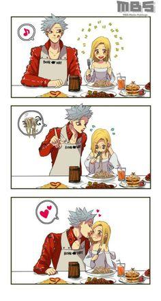 Ban & Elaine ❤ Nantsu no taizai. Manga Anime, Anime Couples Manga, Cute Anime Couples, Otaku Anime, Seven Deadly Sins Anime, 7 Deadly Sins, Chibi, Ban E Elaine, Sir Meliodas