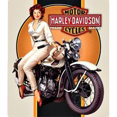 Harley Davidson Dreaming Babe Sign Ande Rooney Harley Davidson Tin Sign Collection utilizes lithographed on tin process, this makes for a more detailed and inticate sign. The result is a reproduction